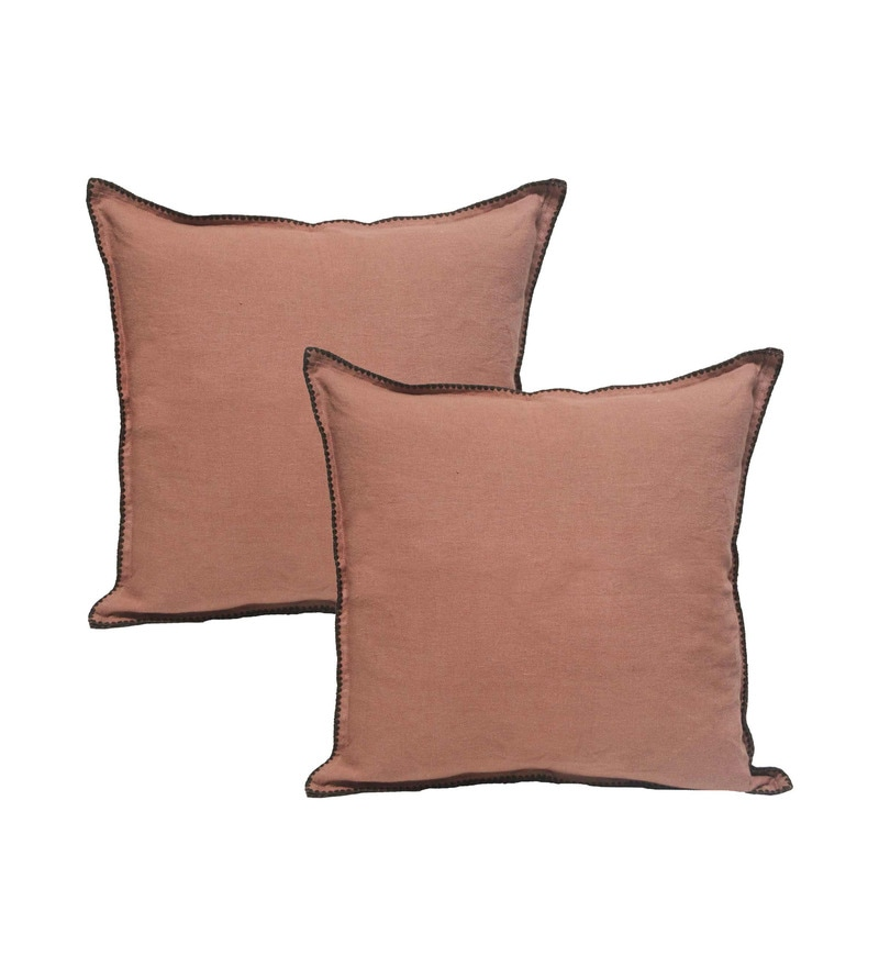 Peach Cotton 23 x 23 Inch Cushion Covers - Set of 2 by R Home