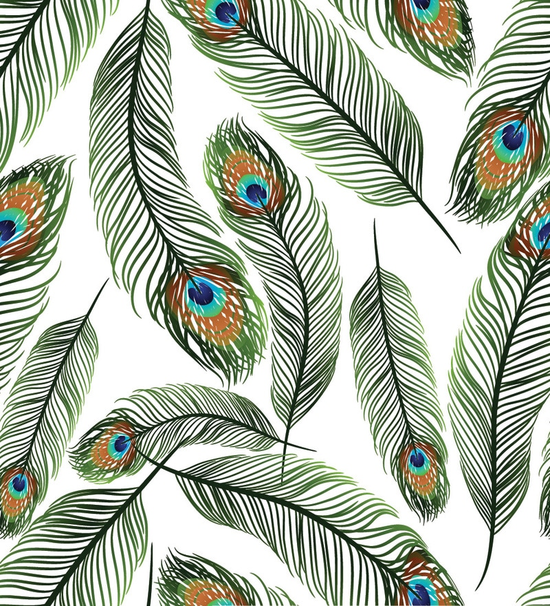 Print a wall paper peacock feathers pvc free wallpaper by for Kitchen print wallpaper