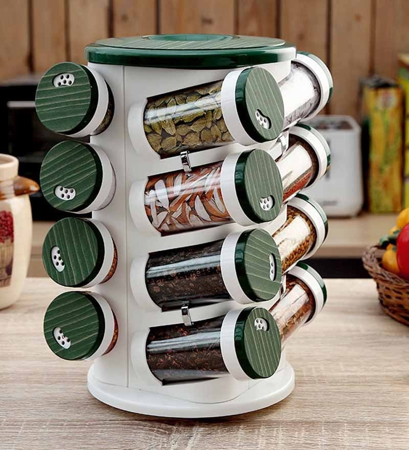 JVS Bamboo Green 100 ML (Each) Spice Rack - Set of 16