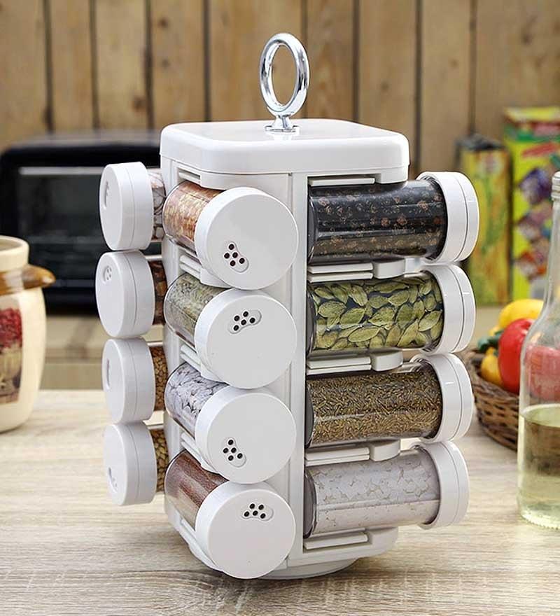 Jvs Kitchen Mate White 100 ML (Each) Spice Rack - Set of 16