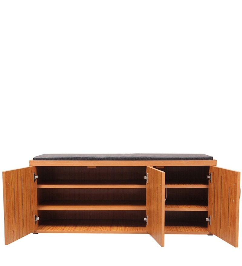Buy Persona Shoe Rack With Cushion Seat In Brown Colour By