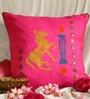 Per Inch Pink Taffeta 16 x 16 Inch Gulabi Ghoda Afsana Cushion Cover