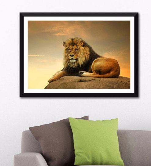 Buy Photographic Paper 24 X 16 Inch Majestic Lion Framed Digital Art