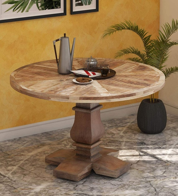 4 Seater Dining Tables, Solid Wood Round Dining Table Sets
