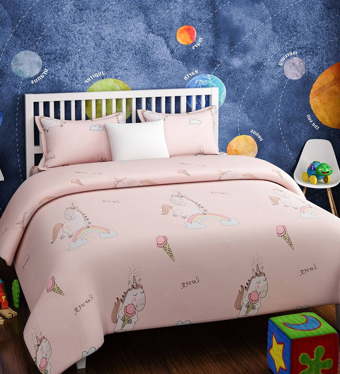 Buy Pink Cotton Kids Unicorn Print Bedsheet Set By Urban Dream Online Kids Double Bed Sheets Kids Bedding Kids Furniture Pepperfry Product