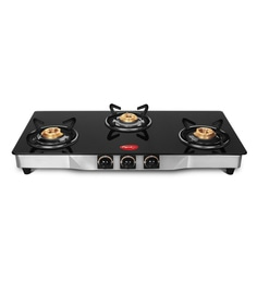 Pigeon Blackline Square Jumbo Toughened Glass 3 Burner Gas Stove