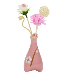 Pink Floral Reed Sticks Aroma Oil Diffuser