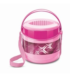 Pink Plastic & Stainless Steel Lunch Box With Leak Lock 2 Containers