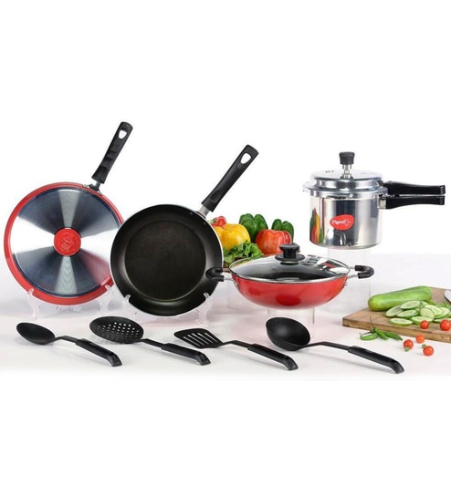 93649fa39 Buy Aluminium Non-Stick Cookware-Set of 7 with 1 Glass lid Online ...