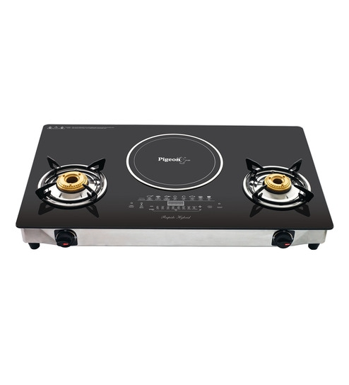 Pigeon Rapido Aspira Black Gl And Steel 700w Hybrid Induction Cooktop Online Cooktops Pepperfry