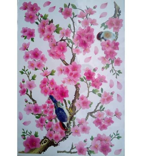 buy pindia 3d beautiful pink cherry blossom design multicolour wall