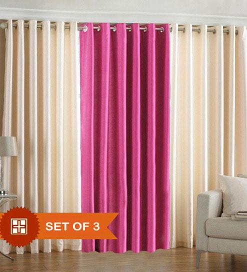 Pindia Cream N Pink Door Curtains Set Of 3 Pcs 7 Ft