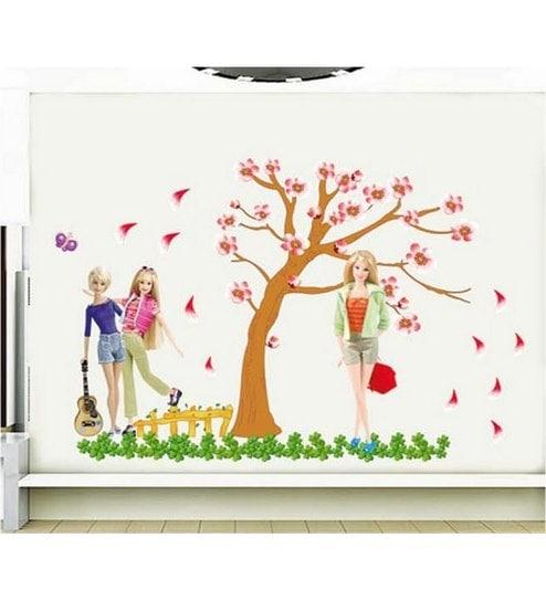 buy pindia barbie dolls wall sticker online - wall stickers - wall