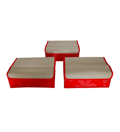 Buy Fabric Red   Beige Storage Box - Set of 3 by PIndia Online - Clothes  Organisers - Home Organisers - Housekeeping - Pepperfry Product 82ed8e4262bee