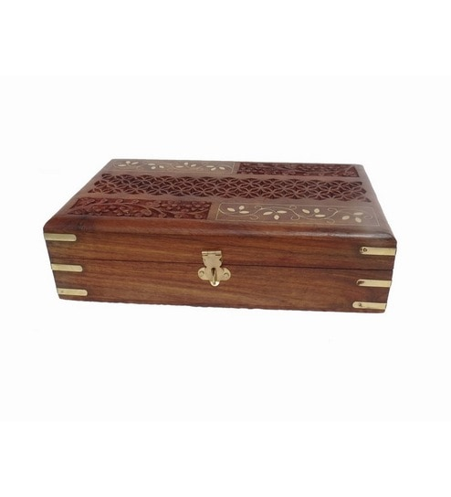 Pindia Fancy Hom Decorative Wedding Gift Brown Wood Jewelry Box