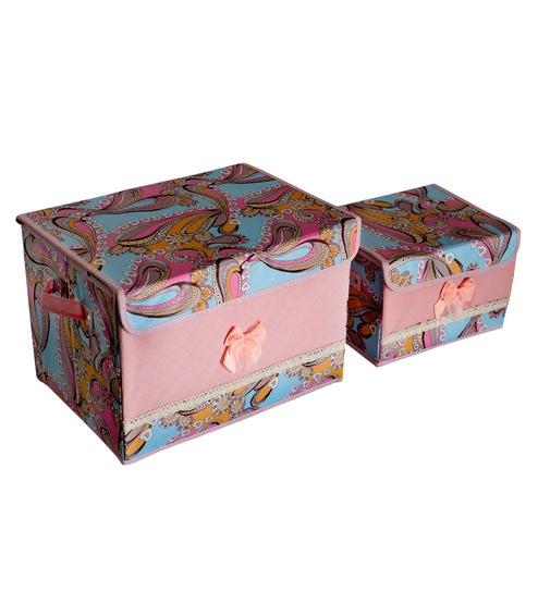 Pindia Foldable Fabric Baby Pink 50 L Printed Storage Boxes Organizer   Set  Of 2
