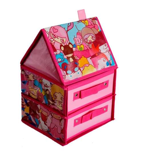 Buy Pindia Foldable Fabric Hut Shaped Pink 2 Drawer Storage Box