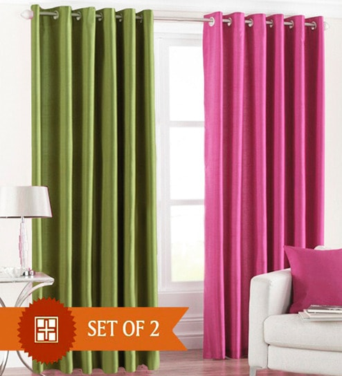 Pindia Green Pink Polyester 60x48 Inch Window Curtain Set