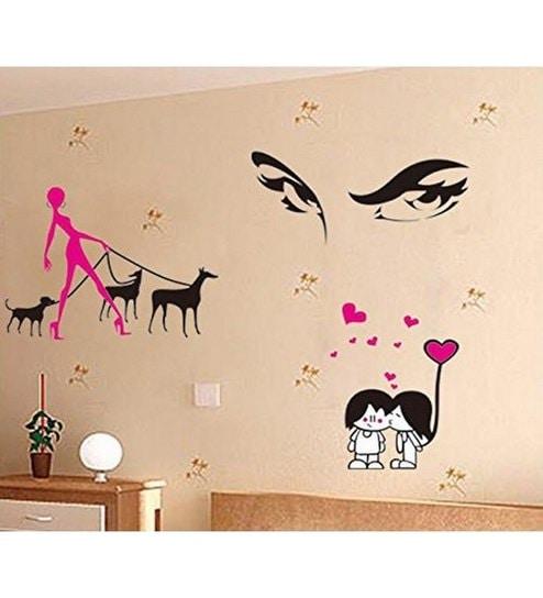 buy pindia love cartoon design multicolour wall sticker & decal