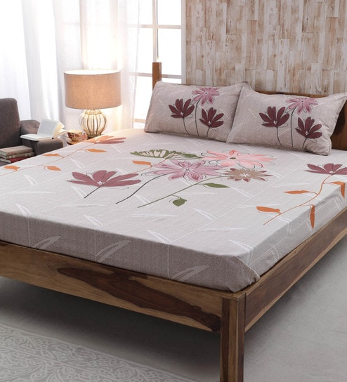 huge selection of a4eff 2e73e Pink 100% Cotton Floral Pattern 220 TC King Size Bed Sheet- Set of 3 by  Sleep Dove