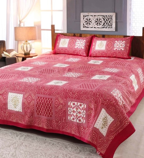 Pink 300 TC 100% Cotton King Size Bedsheet with 2 Pillow Covers by Sleep Dove