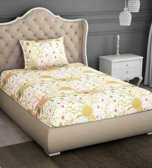 d3882fd6d8 Buy Pink 100% Cotton Single Bed Sheet With 1 Pillow Cover By Spaces Online  - Floral Single Bed Sheets - Single Bed Sheets - Mattresses & Bedding -  Pepperfry ...