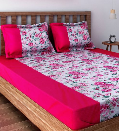 Buy Pink Cotton Queen Size Bed Sheet Set Of 3 By Swayam Online Floral Double Bed Sheets Bed Sheets Furnishings Pepperfry Product