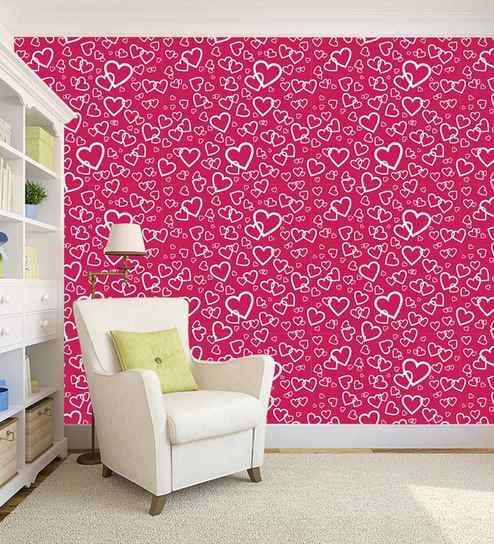 Pink Heart Design Printed Peel And Stick Self Adhesive Waterproof Hd Wallpaper By 100yellow