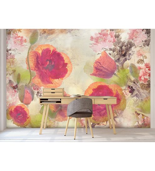 Buy pink non woven paper the strokes of flowers wallpaper by pink non woven paper the strokes of flowers wallpaper by wallskin thecheapjerseys Image collections