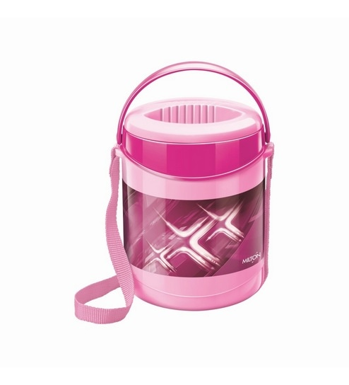 Pink Plastic & Stainless Steel Lunch Box With Leak Lock 3 Containers