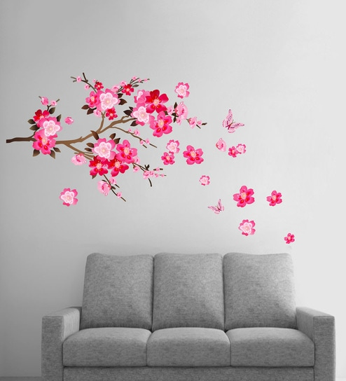 buy pink pvc vinyl pink flowers branch wall stickerdecor kafe