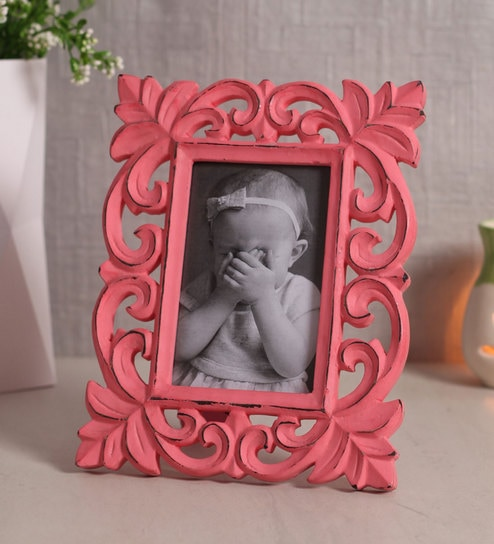 Buy Pink Wooden Handcrafted Table Top Photo Frame Distress Finish By