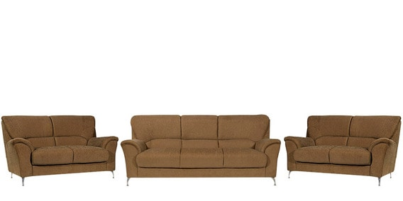 Piper 3 2 Seater Fabric Sofa Set In Brown Colour By