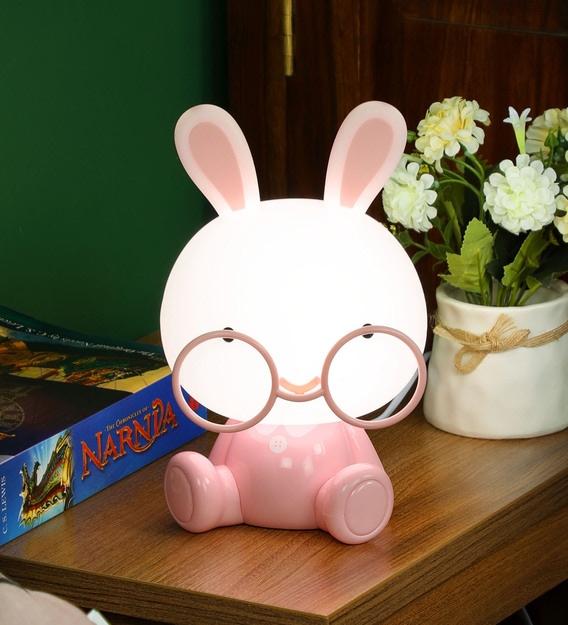 Pink Plastic Cute Bunny Table Lamp, Pink Kids Lamp