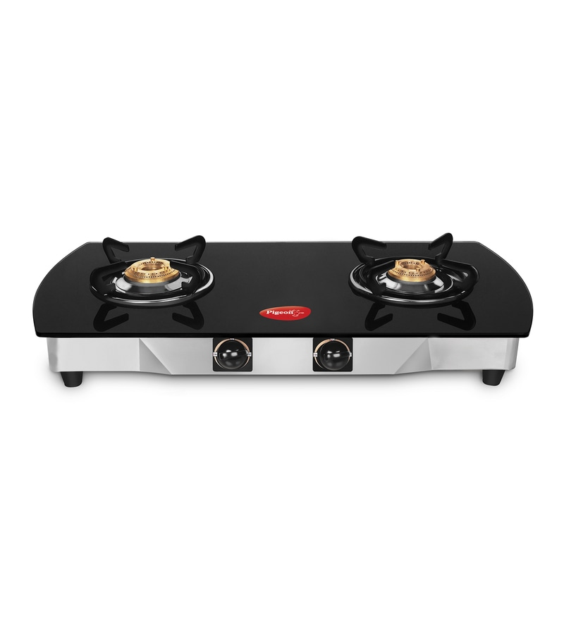 Pigeon Blackline Oval Auto Toughened Glass 2 Burner Gas Stove