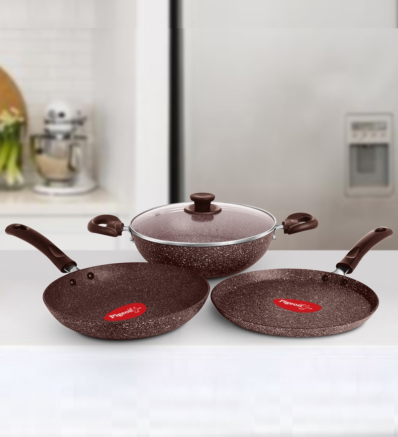 Granito Induction Bottom Brown Aluminium Non-Stick Gift Set - Set of 3 by Pigeon