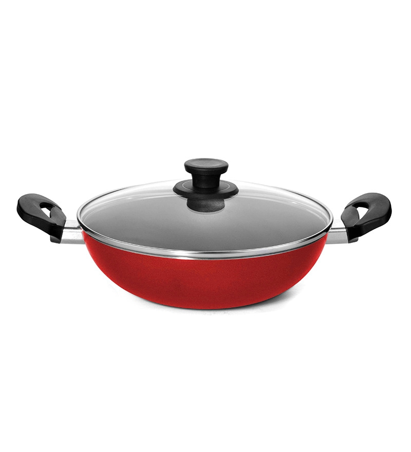 Red Aluminium Non Stick 2000 ML Kadai with Lid by Pigeon