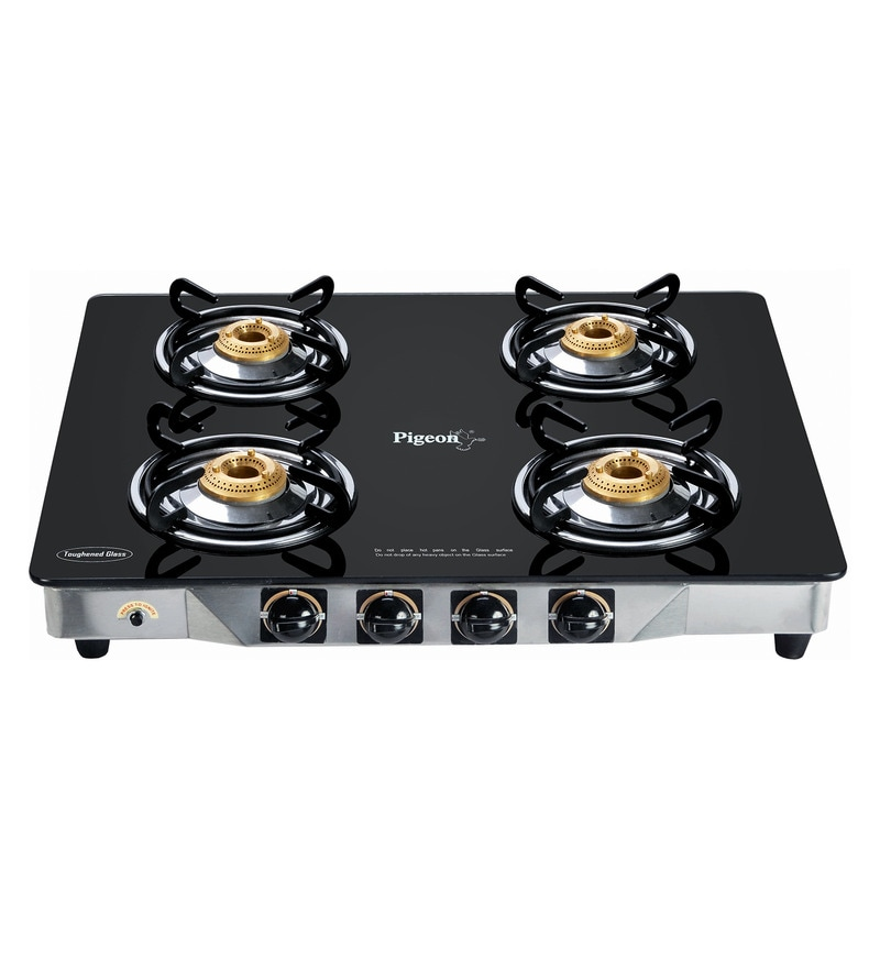 Pigeon Crystal SS and Brass 4-Burner LPG Gas Stove