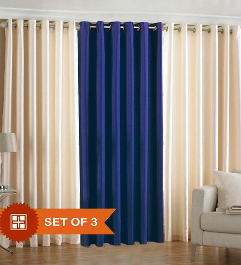 Pindia Cream N Royal Blue Door Curtains Set Of 3 Pcs 7