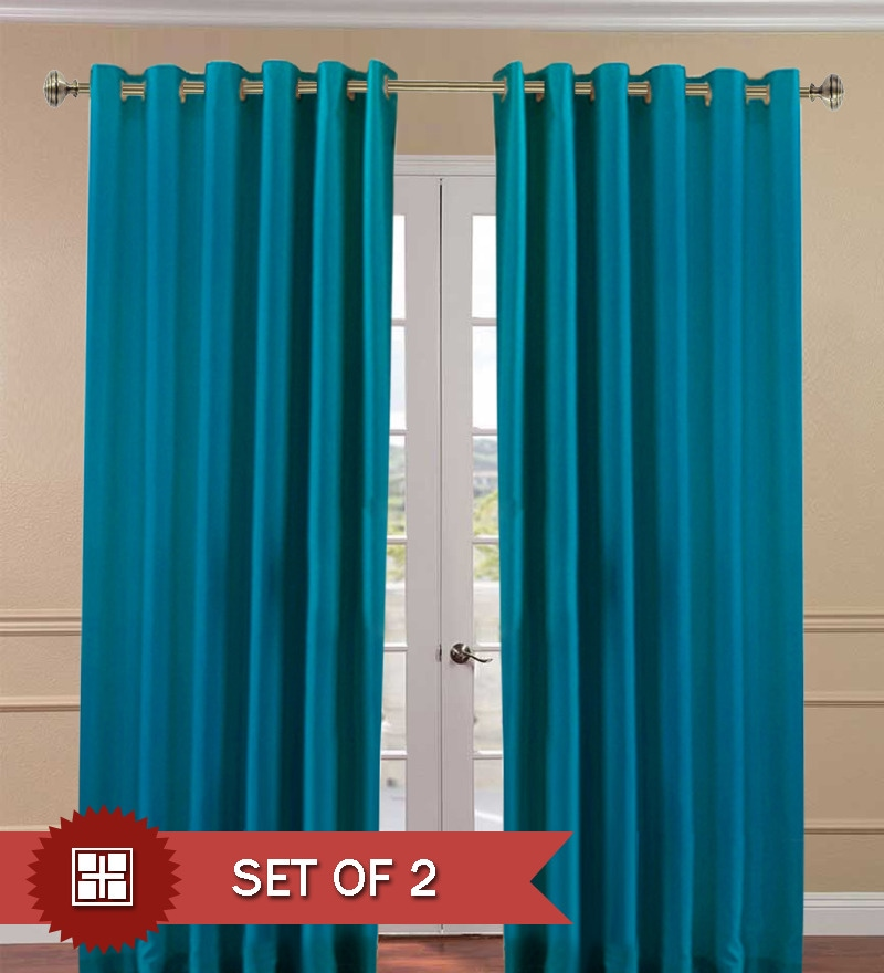 Buy Pindia Aqua Blue Polyester Solid Inch Door Curtain Set