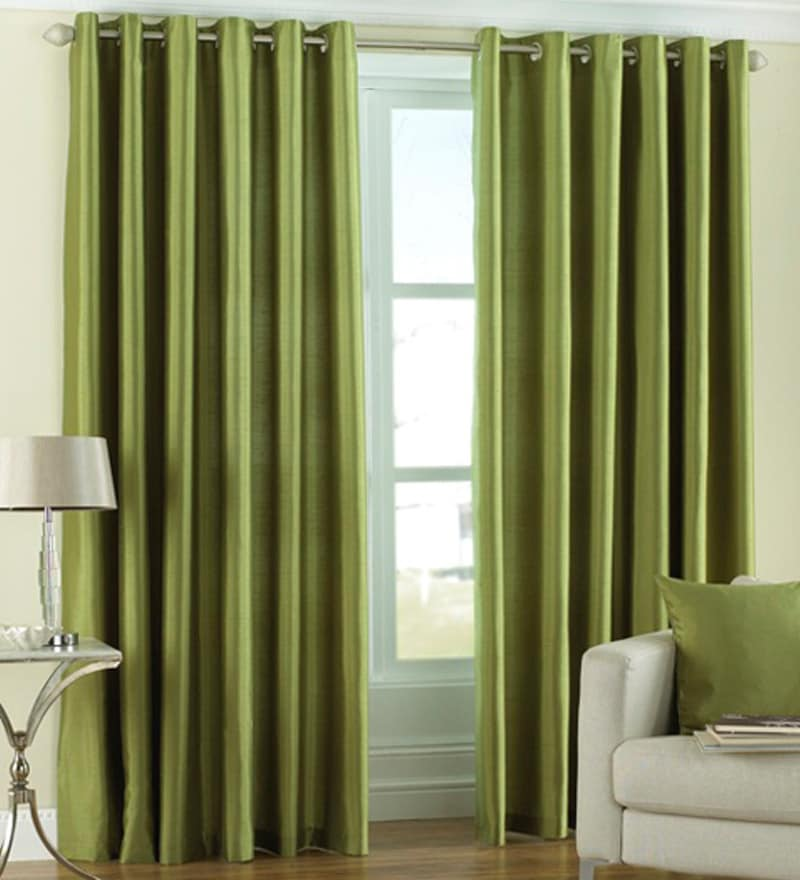Green Polyester 60 x 48 Inch Solid Eyelet Window Curtain - Set of 2 by PIndia