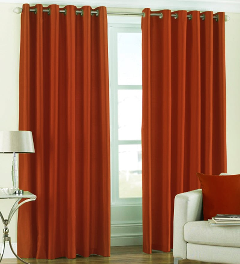 Brown Polyester 60 x 48 Inch Solid Eyelet Window Curtain - Set of 2 by PIndia