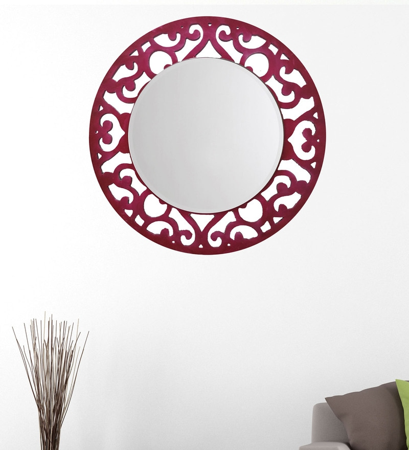 Pink 14.5 x 0.5 x 14.5 Inch Floral Mirror by Height of Designs