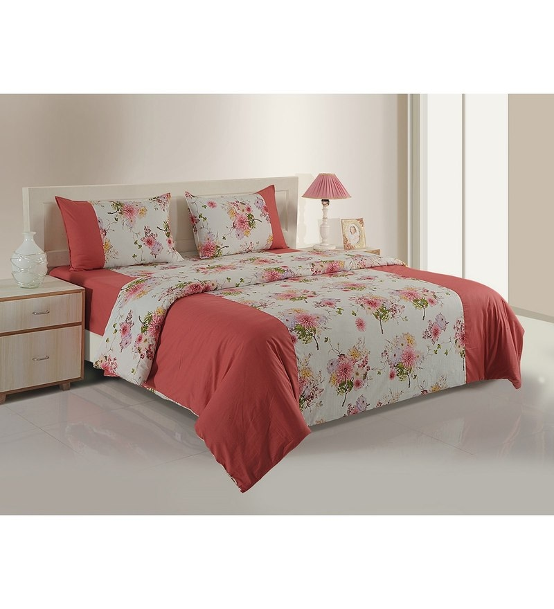 Pink Cotton King Size Bedding Set - Set of 4 by Swayam