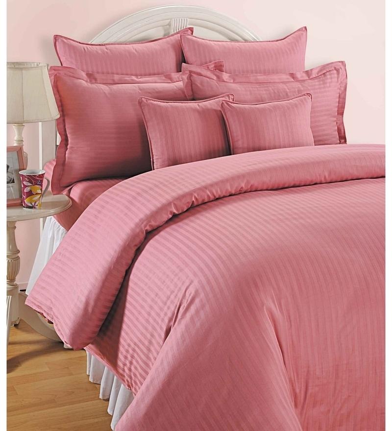 Pink Cotton King Size Bedsheet - Set of 3 by Swayam