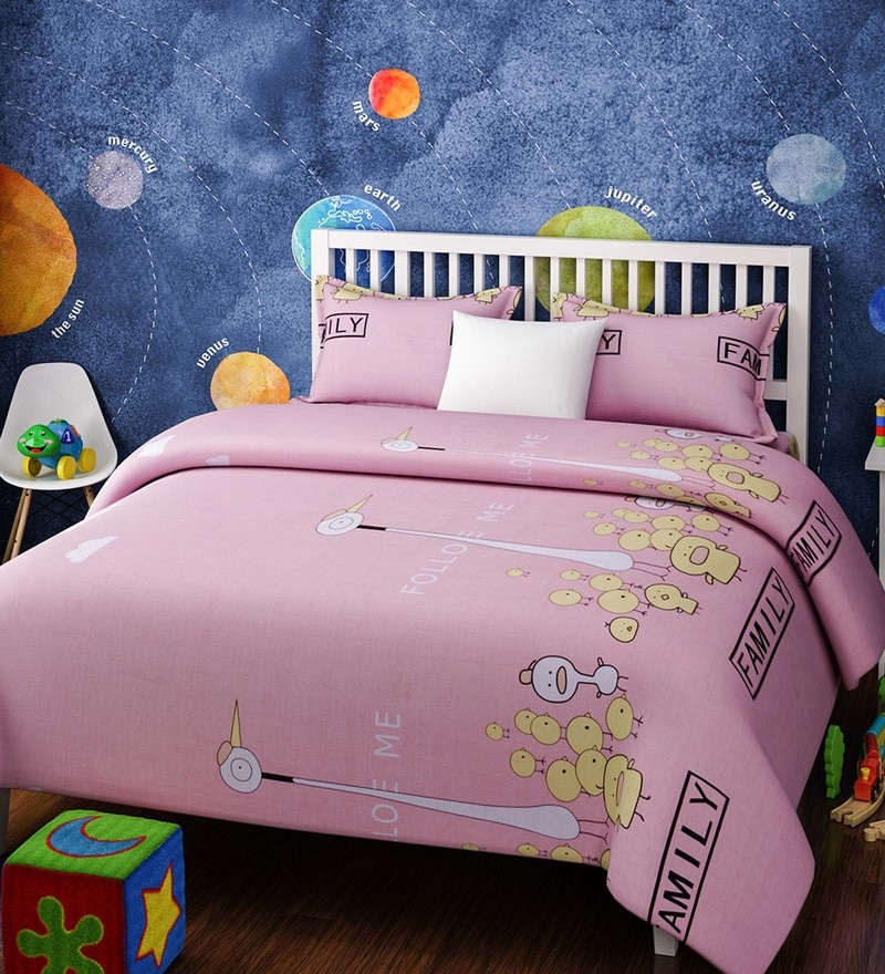 Pink Cotton Single Size The Bird Family Kids Bedsheet - Set of 2 by Rago