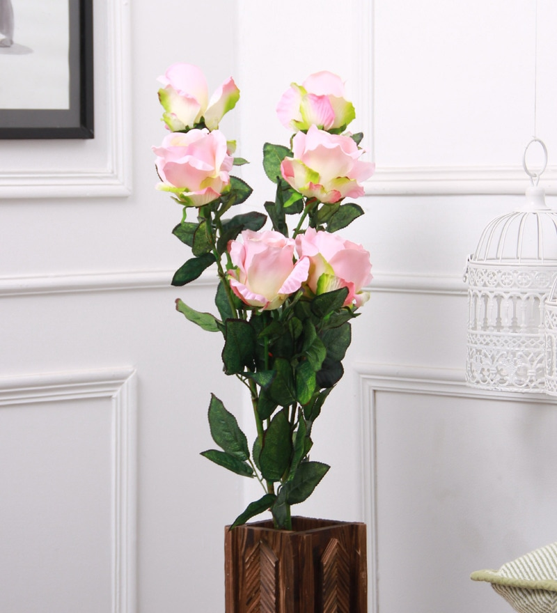 Pink Fabric & Plastic Artificial Rose Flower Stick by Fourwalls - Set of 2