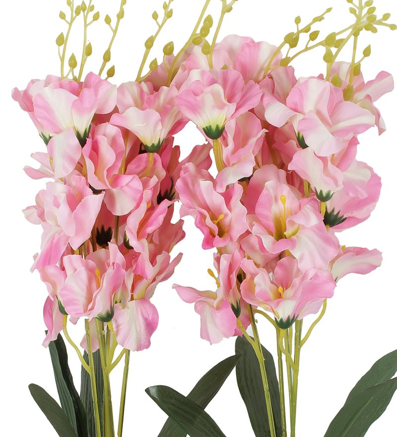 buy pink fabric orchid artificial flower by fourwalls set of 2