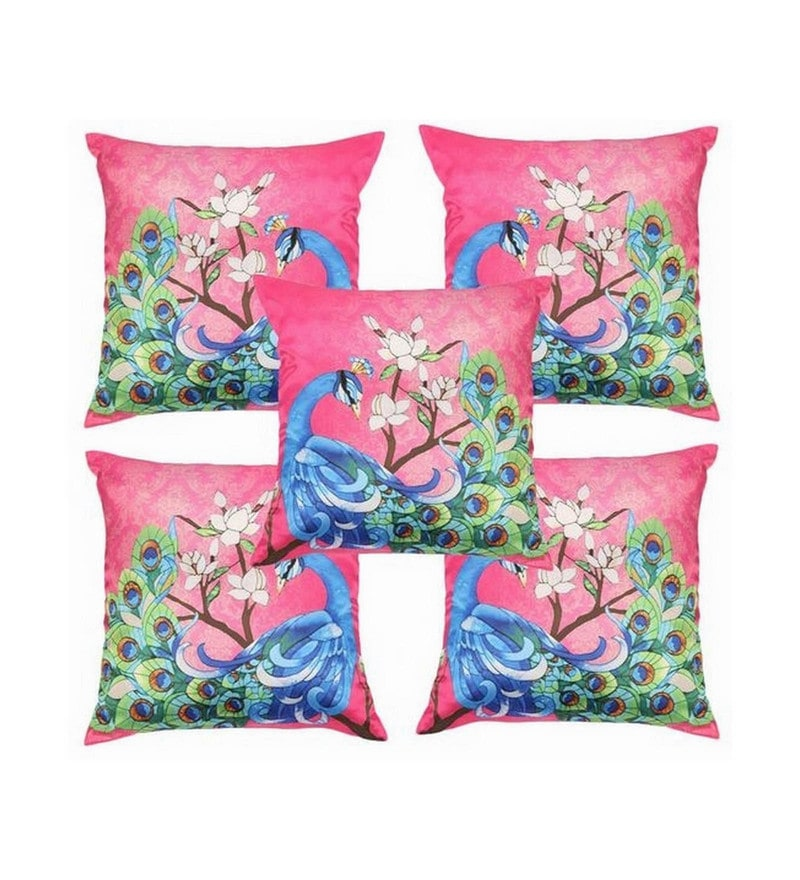Pink Polyester 16x16 Inch Cushion Covers - Set of 5 by Dreamscape