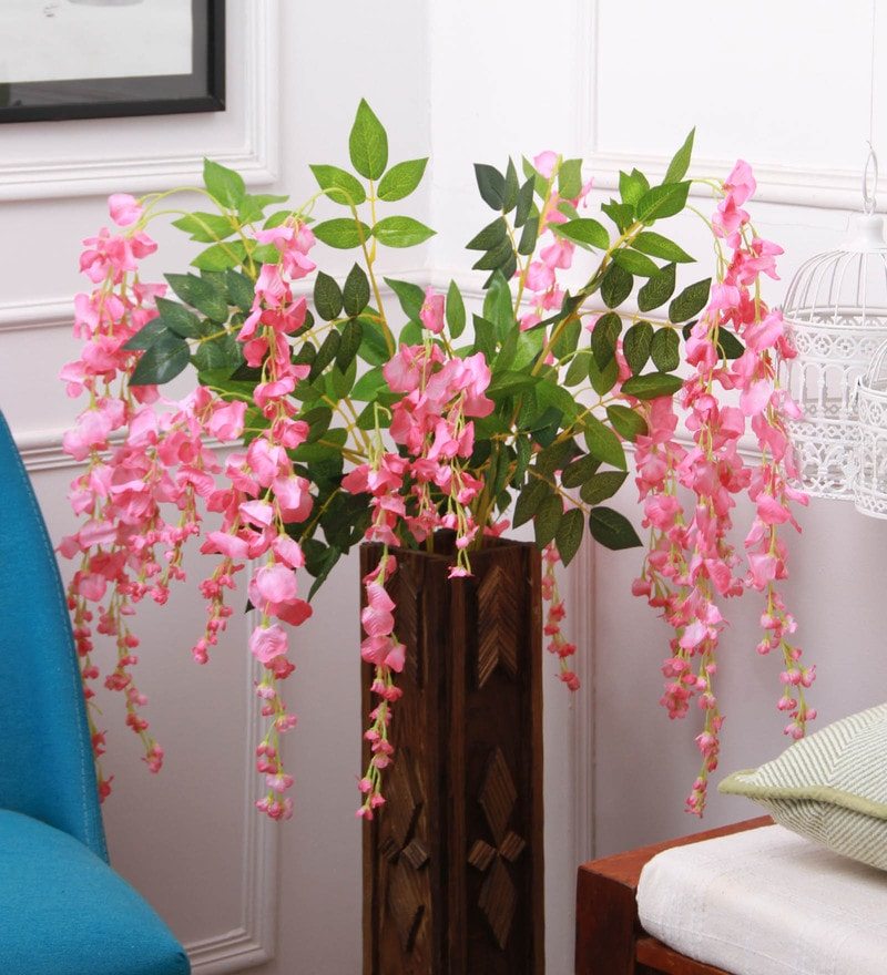 Buy Pink Polyester Artificial Westeria Ratta Silk Hanging Flower